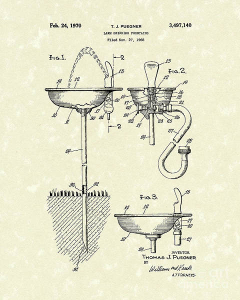 Drawing - Drinking Fountain 1970 Patent Art by Prior Art Design