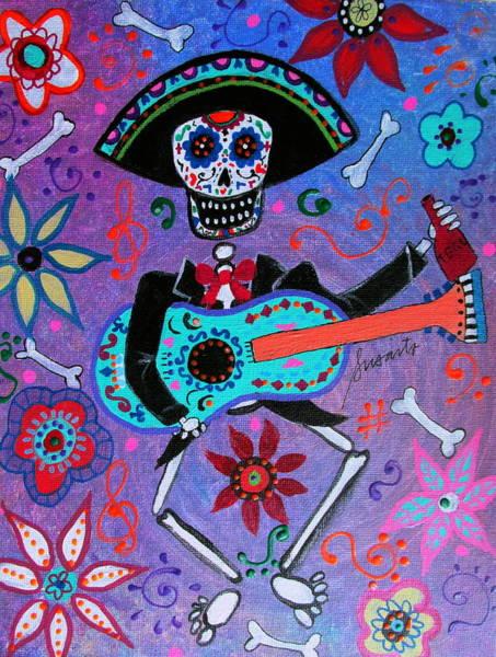 Mexican Guitar Player Painting - Drinking Mariachi Dia De Los Muertos by Pristine Cartera Turkus