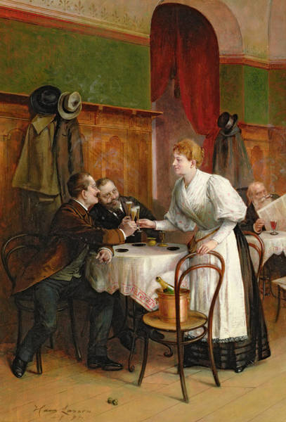 Champagne Painting - Drinking Their Health by Hans August Lasser