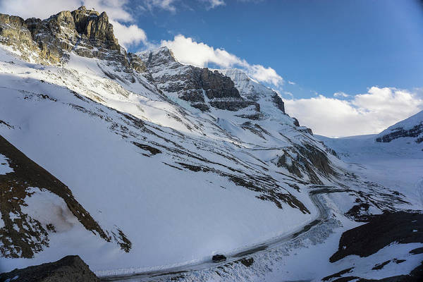 Wall Art - Photograph - Driving A Van Up Icefields Parkway by Brandon Huttenlocher