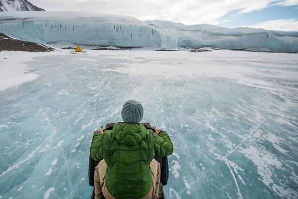 Atv Photograph - Driving An Atv Across The Frozen Lake by Alasdair Turner