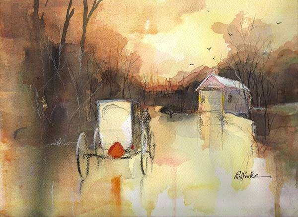 Covered Bridge Painting - Driving On by Robert Yonke