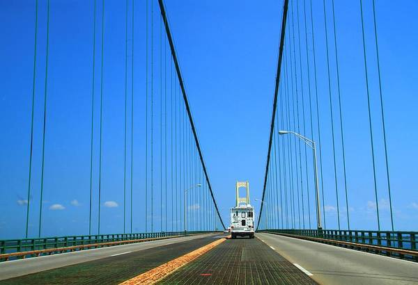 Michilimackinac Wall Art - Photograph - Driving On The Mackinac Bridge by Dan Sproul