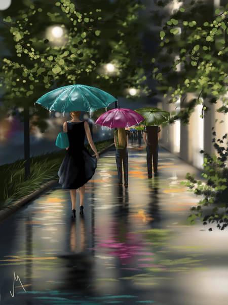 Night Walk Painting - Drizzle by Veronica Minozzi