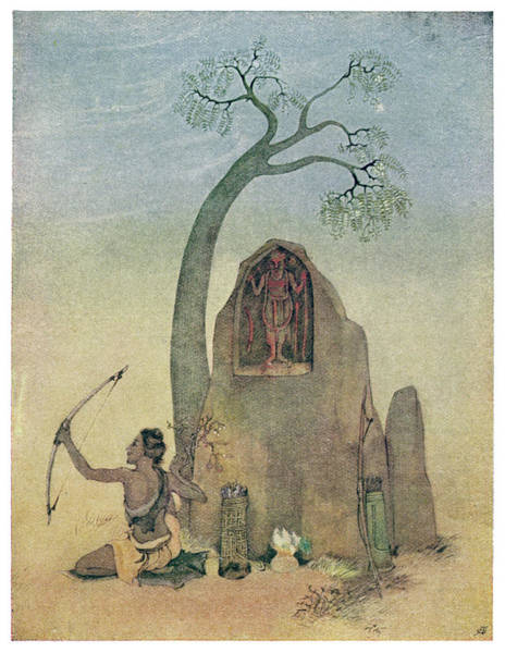 Wall Art - Drawing - Drona Refuses To Teach  Ekalavya by Mary Evans Picture Library