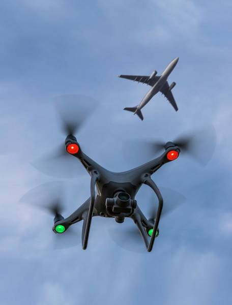 Copter Photograph - Drone And Airliner by David Parker/science Photo Library