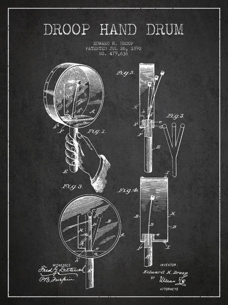Country Living Digital Art - Droop Hand  Drum Patent Drawing From 1892 - Dark by Aged Pixel