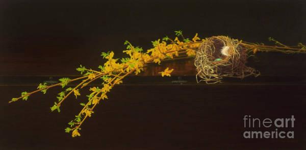 Forsythia Painting - Drop Leaf by Barbara Groff