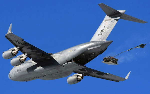 C-17 Photograph - Dropping A Humvee  by Mountain Dreams