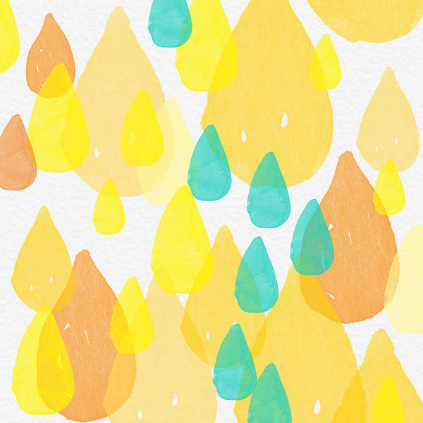 Yellow And Blue Painting - Drops Of Sunshine- Abstract Painting by Linda Woods
