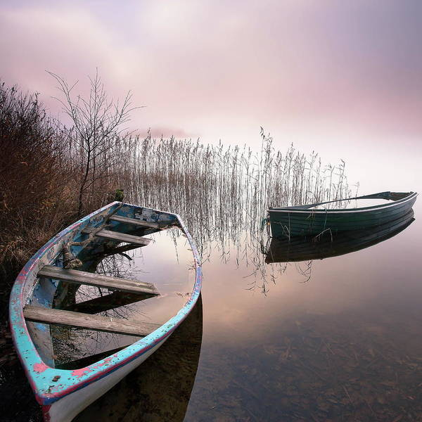 Fishing Boat Photograph - Drowning In Water And Mist by Unique Landscape