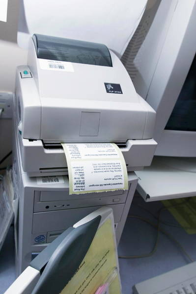 Printer Photograph - Drug Labels by Gustoimages/science Photo Library