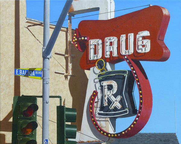 Neon Sign Painting - Drug by Michael Ward