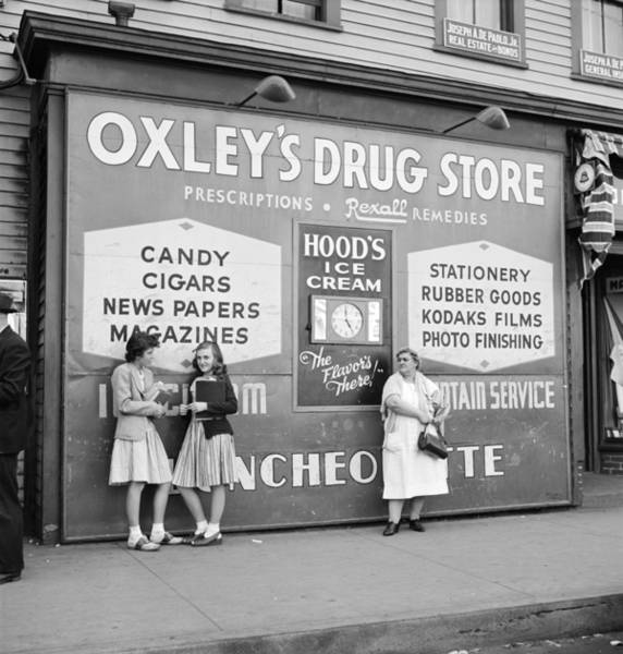 Wall Art - Photograph - Drug Store Sign, 1942 by Granger