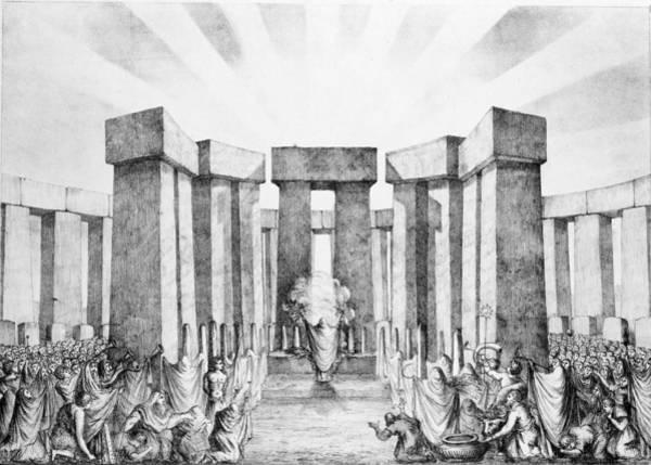 Pagan Wall Art - Drawing - Druids Sacrificing To The Sun by Nathaniel Whittock
