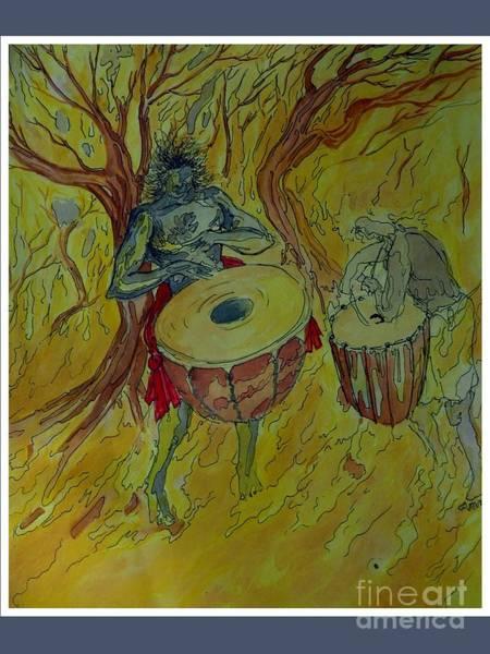 Kannan Painting - Drummers In Yellow by Sooraj Kannan