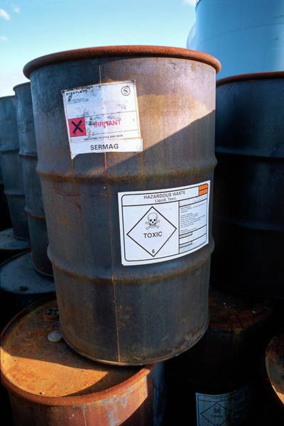 Notice Photograph - Drums Of Toxic Waste by Robert Brook/science Photo Library