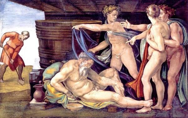 Apostolic Palace Wall Art - Painting - Drunkenness Of Noah by Michelangelo Buonarroti