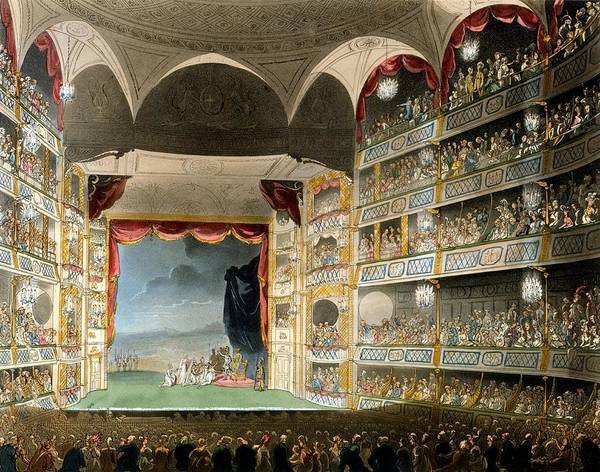 Balcony Drawing - Drury Lane Theater by Pugin and Rowlandson