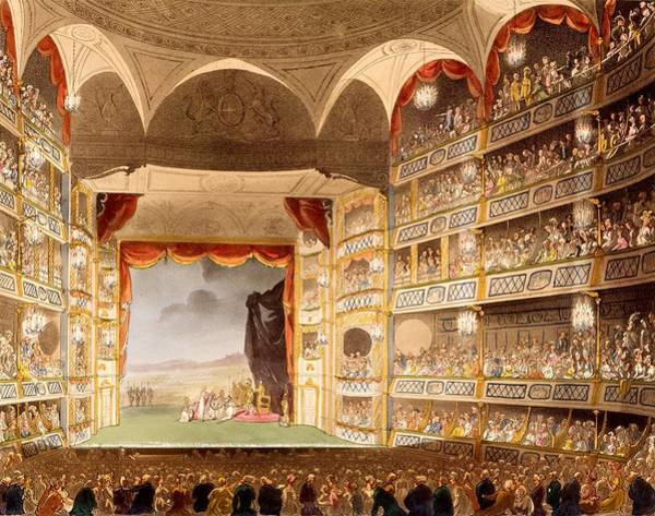 Georgian Drawing - Drury Lane Theatre, Illustration by T. & Pugin, A.C. Rowlandson