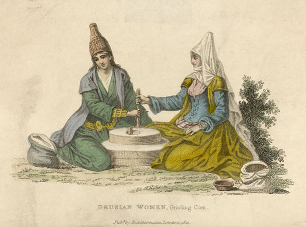 Wall Art - Drawing - Druse Women Of The Lebanon Grinding by Mary Evans Picture Library