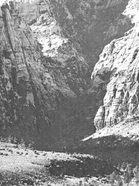 Photograph - Dry Desert Waterfall Pencil Rendering by Frank Wilson