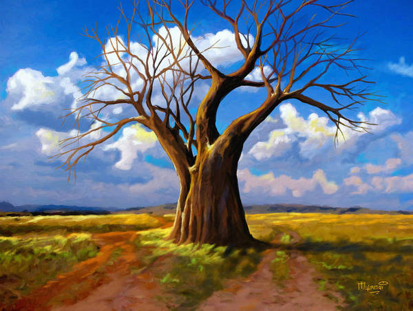Lone Tree Painting - Dry Tree And Two Roads by Anthony Mwangi