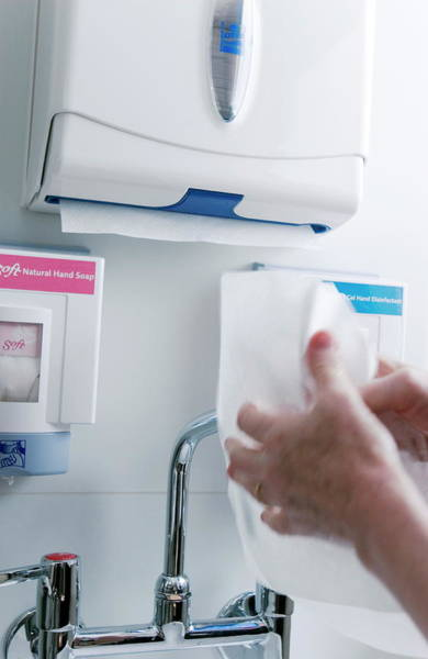 Dispenser Photograph - Drying Hands by Gustoimages/science Photo Library