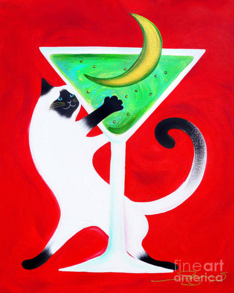 Diners Club Painting - Moon Martini by Gem S Visionary