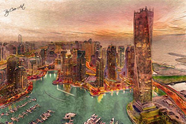 Dubai Marina Painting - Dubai by Corina David