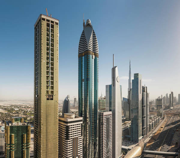 Desert View Tower Photograph - Dubai Futuristic Skyscrapers Of Sheikh by Fotovoyager