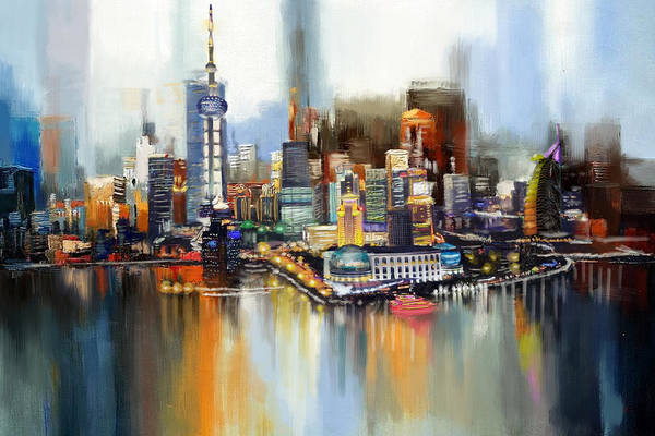 Dubai Marina Painting - Dubai Skyline  by Corporate Art Task Force