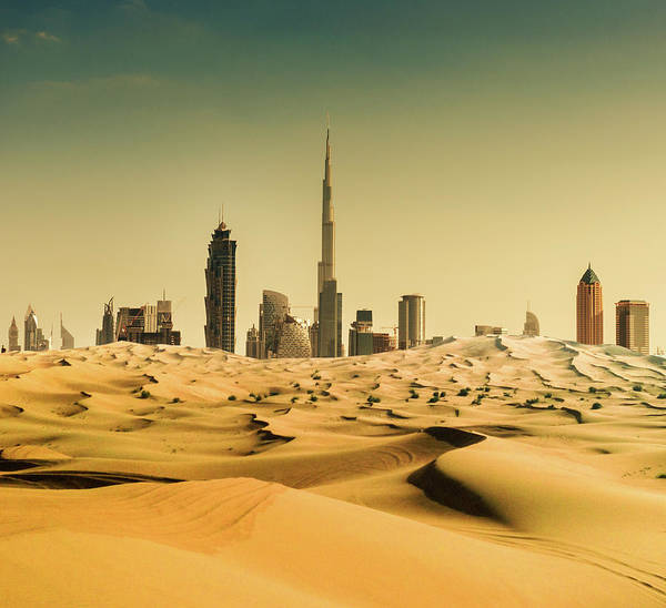 Photograph - Dubai Skyline From The Desert by Franckreporter