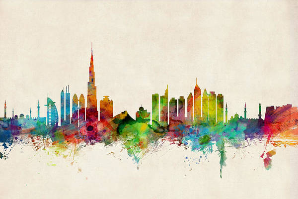Urban Wall Art - Digital Art - Dubai Skyline by Michael Tompsett