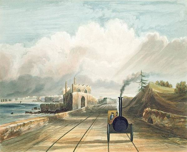 Locomotive Drawing - Dublin And Kingstown Railway From by Andrew Nicholl