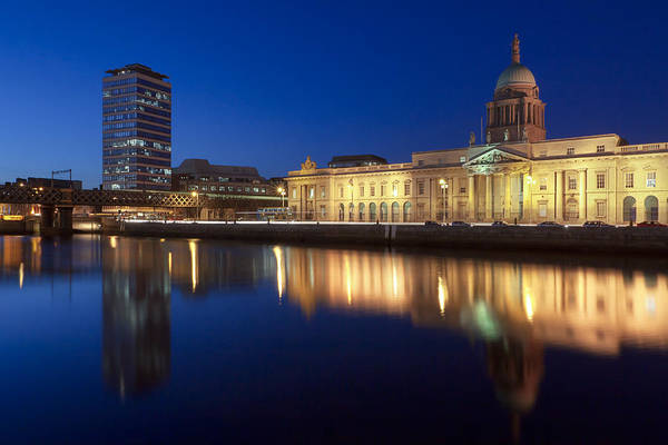 Photograph - Dublin Custom House And Liberty Hall At Dusk by Mark Tisdale