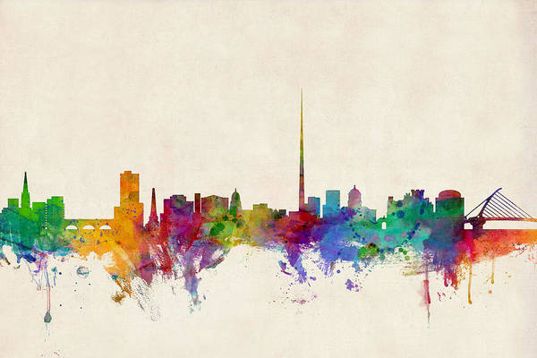 Watercolours Wall Art - Digital Art - Dublin Ireland Skyline by Michael Tompsett