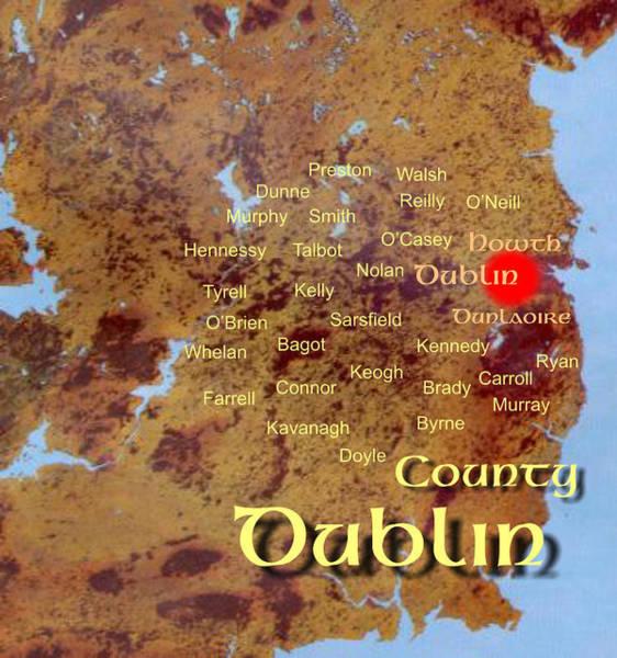 Digital Art - Dublin Names by Val Byrne