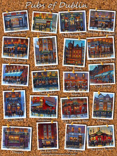 Temple Bar Wall Art - Painting - Dublin Pubs Corkboard by Chris Mc Morrow