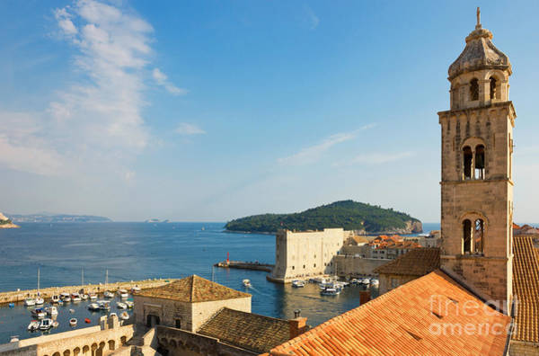 Lokrum Photograph - Dubrovnik The Dominican Monastery Bell Tower And Harbor by Kiril Stanchev