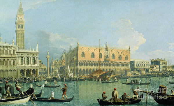 Gondola Painting - Ducal Palace   Venice by Canaletto