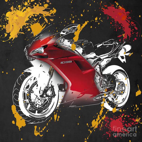 Wall Art - Digital Art - Ducati 1098 - A by Drawspots Illustrations