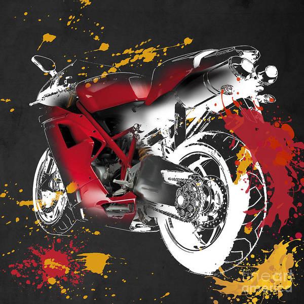 Wall Art - Digital Art - Ducati 1098 - B by Drawspots Illustrations