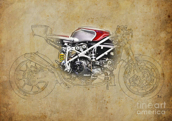 Wall Art - Drawing - Ducati 479 Cafe Racer by Drawspots Illustrations
