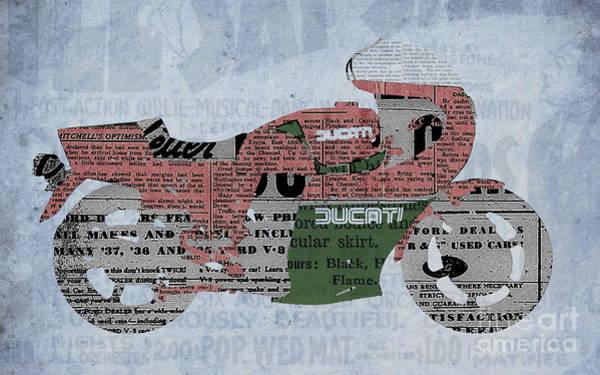 Garage Decor Mixed Media - Ducati 900 1983 - Old Newspaper by Drawspots Illustrations
