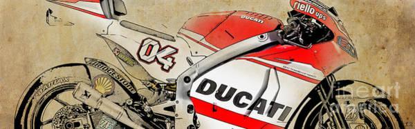 Mixed Drawing - Ducati Gp14 04 by Drawspots Illustrations