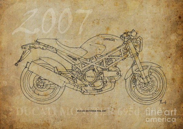 Wall Art - Drawing - Ducati Monster 695d 2007 by Drawspots Illustrations