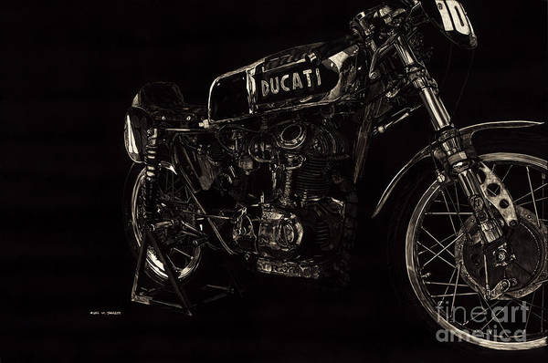Scratchboard Drawing - Ducati Racer by Matthew Jarrett