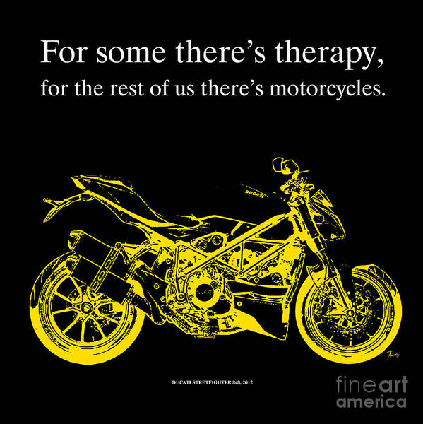 Wall Art - Drawing - Ducati Streetfighter 848 2012 - Quote by Drawspots Illustrations