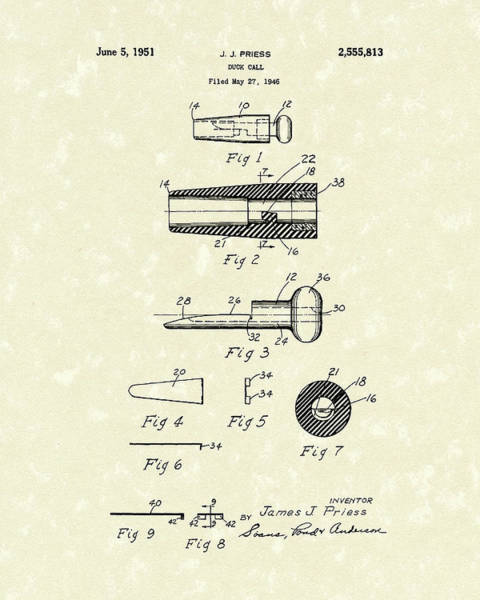 Drawing - Duck Call 1951 Patent Art by Prior Art Design